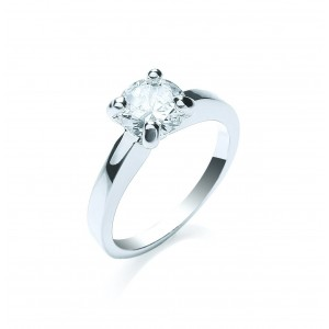 Silver Plated Clear Brilliant-Cut Cubic Zirconia Solitaire Ring