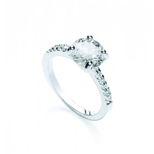 Silver Plated Clear Brilliant-Cut CZ Solitaire Ring + Shoulders