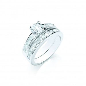 Silver Plated Clear Cubic Zirconia Duo Ring Set