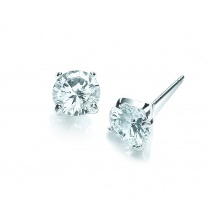Silver Plated Clear Brilliant-Cut Cubic Zirconia Stud Earrings