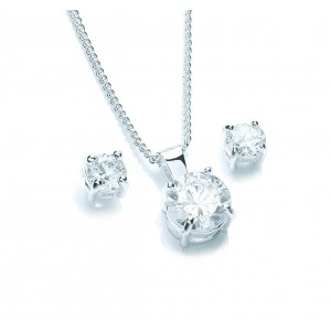 Silver Plated Solitaire Brilliant-Cut Cubic Zirconia Set