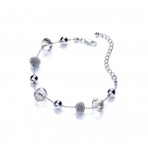 Rhodium Glass Snails Bracelet