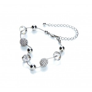 Snowball & Glass Mixed Bead Bracelet