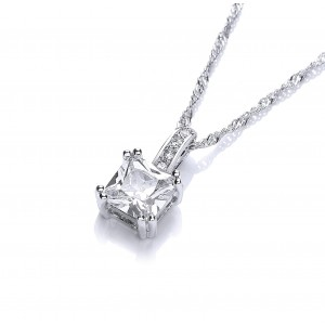 Silver Plated Emerald-Cut Cubic Zirconia Solitaire Pendant