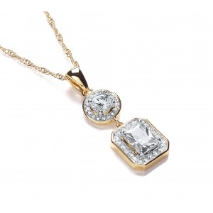 Two Tone Clear CZ Rectangular Drop Pendant