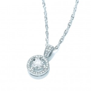 Rhodium Plated Clear CZ Roulette Pendant