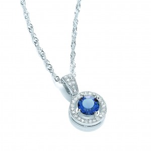 Rhodium Plated Sapphire Roulette Pendant