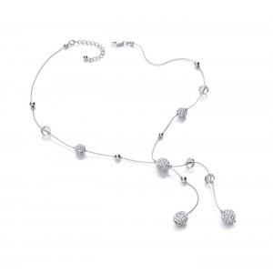 Clear Sparkle Snowball Y Necklace