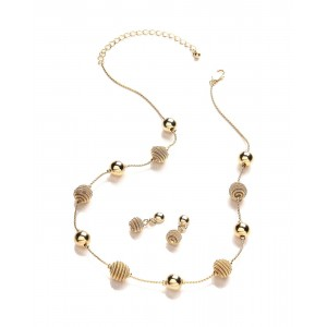 18k Gold Spiral Beaded Necklace & Earring Set