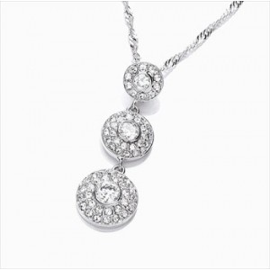 Rhodium Plated Clear CZ & Crystal Art Deco Trio Drop Pendant