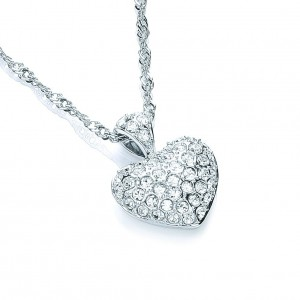 Rhodium Plated Love Heart Pendant