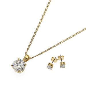 18k Gold Plated Round-Cut Clear Cubic Zirconia Solitaire Set