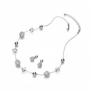 Clear Sparkle Snowball Set (Necklace and Earrings)
