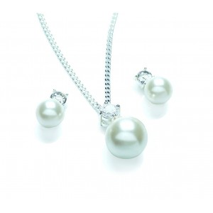 Silver Plated Ivory Glass Pearl Solitaire Pendant and Earring Set