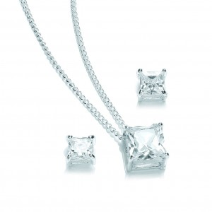 Silver Plated Solitaire Princess-Cut Cubic Zirconia Set
