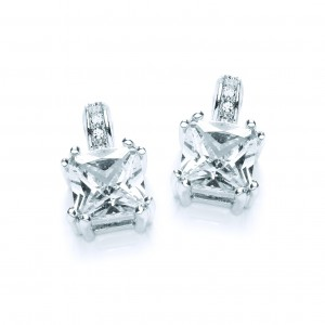 Silver Plated Emerald-Cut Cubic Zirconia Drop Earrings