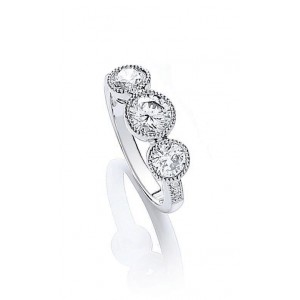 Rhodium Plated Millgrain Bezel Ring