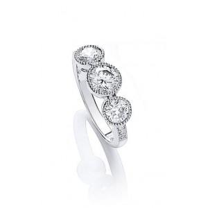 Rhodium Plated Millgrain Bezel Ring