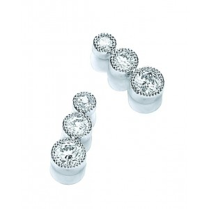 Rhodium Plated Millgrain Bezel Set Earrings