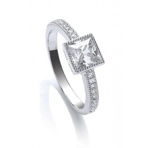 Rhodium Plated Millgrain Square Ring