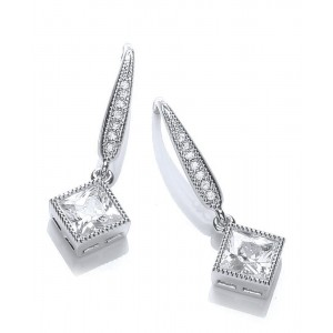 Rhodium Plated Millgrain Square Earrings