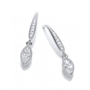 Rhodium Plated Millgrain Navette Earrings