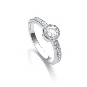 Rhodium Plated Millgrain Round Ring
