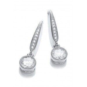 Rhodium Plated Millgrain Round Earrings