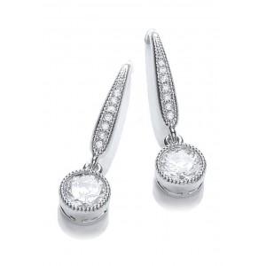 Rhodium Plated Millgrain Round Earrings