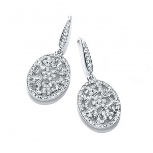 Rhodium Plated Vintage Inspired Floral Drop Earrings