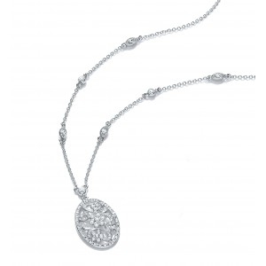Rhodium Plated Vintage Inspired Floral Pendant