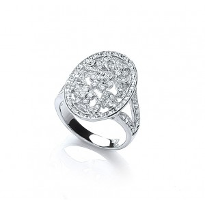Rhodium Plated Vintage Inspired Floral Ring