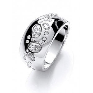 Silver Plated Scattered Stone Ring