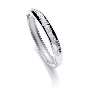 Silver Plated Scattered Stone Bangle