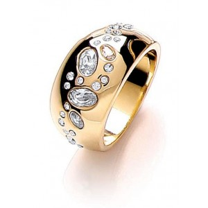 Gold Plated Scattered Stone Ring