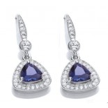 Rhodium Plated Sapphire Glass Cushion Earrings