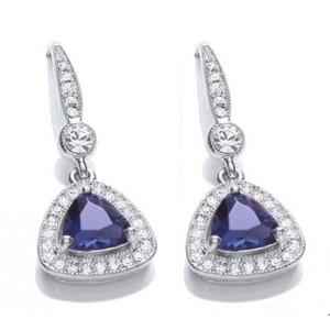 Rhodium Plated Sapphire Glass Cushion Earrings