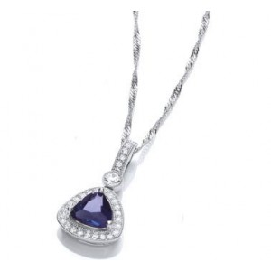 Rhodium Plated Sapphire Glass Cushion Pendant