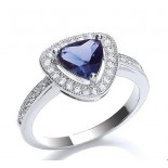 Rhodium Plated Sapphire Glass Cushion Ring