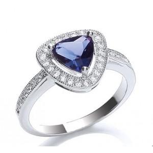 Rhodium Plated Sapphire Glass Cushion Ring