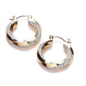 Two Tone Sleek Pave Twist Hoop