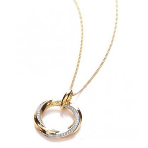 Two Tone Sleek Pave Twist Pendant