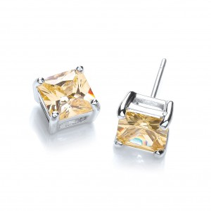 Rhodium Plated Canary Princess-Cut Studs