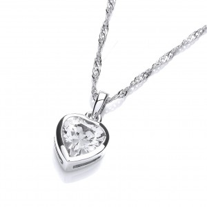 Rhodium Plated Simple Heart Pendant