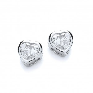 Rhodium Plated Simple Heart Stud Earrings