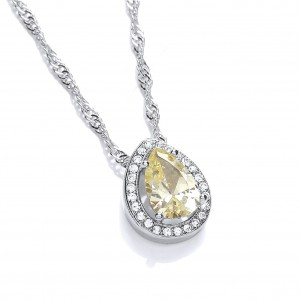 Rhodium Plated Delicate Pear Pendant