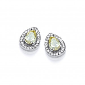 Rhodium Plated Delicate Pear Stud Earrings