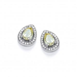 Rhodium Plated Delicate Pear Stud Earrings
