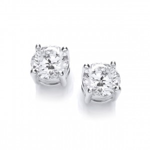 Rhodium Plated Simple Stud Earrings