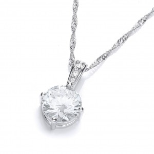 Rhodium Plated Simple Solitaire Pendant